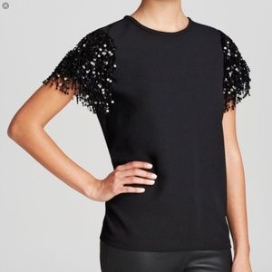 KATE SPADE NEW YORK Fringe Sequin Sleeve Top Sz 6